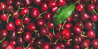 Fresh sweet cherry texture, wallpaper and background Royalty Free Stock Photos
