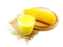 Fresh sweet corn juice corn milk. On white background Royalty Free Stock Photo