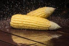 Fresh sweet corn on wooden table. Fresh sweet corn on wooden table Royalty Free Stock Image