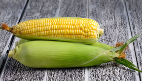 Fresh sweet corn on wooden table.  Stock Photos