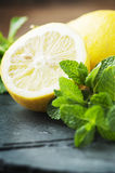 Fresh sweet lemon and green mint on the table Royalty Free Stock Image