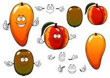 Fresh sweet mango, peach and kiwi fruits Stock Image