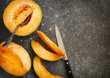 Fresh sweet orange melon Royalty Free Stock Photos