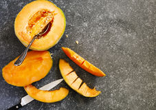 Fresh sweet orange melon Royalty Free Stock Image