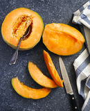 Fresh sweet orange melon Royalty Free Stock Photo