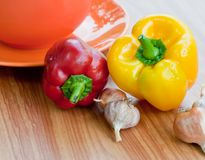 Fresh sweet  paprika and bowl.. Stock Photography