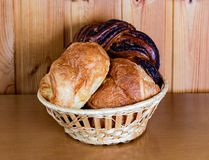 Fresh pastry in basket. Selective focus Royalty Free Stock Image