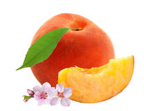 Fresh sweet peach with flowers and green leaf isolated on white Royalty Free Stock Photography