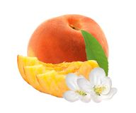 Fresh sweet peach with green leaf isolated on white Royalty Free Stock Images