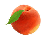Fresh sweet peach with green leaf isolated on white Royalty Free Stock Photos