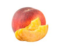 Fresh sweet peach and slices isolated on white Royalty Free Stock Images