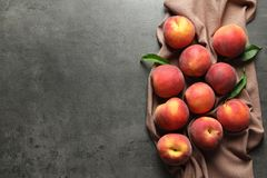 Fresh sweet peaches on table. Top view royalty free stock image