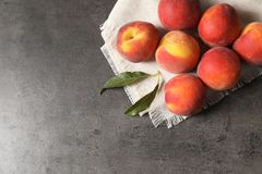 Fresh sweet peaches on table. Top view royalty free stock images
