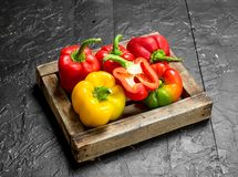 Fresh sweet pepper on tray. On black rustic background stock photos