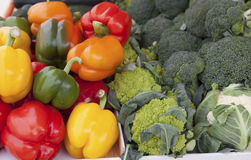 Fresh sweet peppers and Brussels sproutsat the market Royalty Free Stock Photo