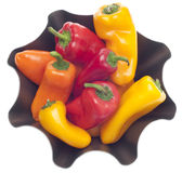 Fresh Sweet Peppers in a Modern Metal Bowl Stock Image