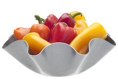 Fresh Sweet Peppers in a Modern Metal Bowl Stock Photo