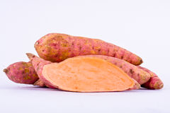 Fresh sweet potato yam on white background healthy fruit food isolated Royalty Free Stock Photos