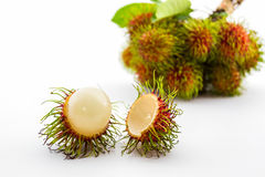 Fresh sweet rambutan on white background. Fresh sweet rambutan on white background,tropical fruit in Thailand Stock Photo