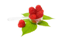 Fresh sweet raspberries. Isolated on white background Royalty Free Stock Photography