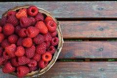 Fresh sweet raspberries. Basket of fresh sweet raspberries Royalty Free Stock Images