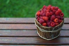 Fresh sweet raspberries. Basket of fresh sweet raspberries Royalty Free Stock Photo