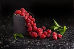 Fresh sweet raspberry in black cup. Fresh sweet raspberry in handmade black ceramic cup dark low key photo Royalty Free Stock Photography