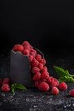 Fresh sweet raspberry in black cup. Fresh sweet raspberry in handmade black ceramic cup dark low key photo Stock Photography