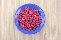 Fresh sweet raspberry plate on table. Fresh sweet raspberry plate on wooden table Stock Images