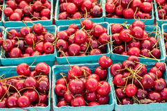 Fresh sweet red cherries in boxes Stock Photography