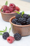 Fresh sweet red raspberry and blueberries in a clay pot and mint on light wooden table. Selective focus Stock Photography