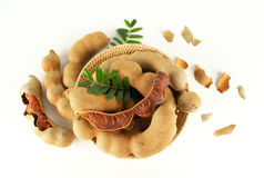 Fresh Sweet Ripe Tamarind With Leaf Stock Photo