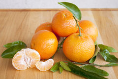 Fresh Sweet Spanish Tangerines. With leaves Royalty Free Stock Photo