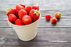 Fresh sweet strawberry on wooden background Royalty Free Stock Photos