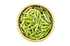 Fresh sweet vegetable pea pods in wicker basket isolated Royalty Free Stock Image