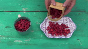 Fresh sweet wild raspberry in decorative plate stock video footage