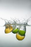Fresh swimming fruits and vegetables Stock Image