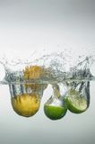 Fresh swimming fruits and vegetables Royalty Free Stock Images