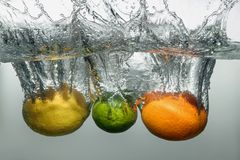 Fresh swimming fruits and vegetables Stock Photos
