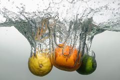 Fresh swimming fruits and vegetables Royalty Free Stock Photography