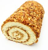 Fresh swiss roll with poppy on white Royalty Free Stock Image