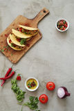 Fresh taco. Food and cuisine. Delicious taco on the table stock photos