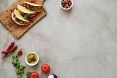Fresh taco. Food and cuisine. Delicious taco on the table royalty free stock photos