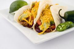 Fresh taco, mexican food. With hot peppers Royalty Free Stock Image