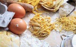 Fresh tagliatelle pasta homemade preparation. Fresh pasta home made preparation Stock Image