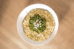 Fresh Tagliatelle with Pesto in Bowl Royalty Free Stock Image