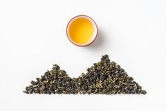 Fresh taiwan oolong tea bud layout like mountain royalty free stock photos