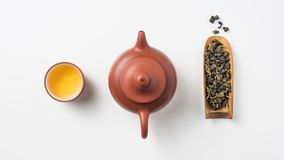 Fresh taiwan oolong tea and teapot royalty free stock photo