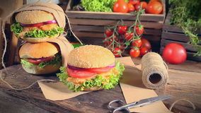 Fresh takeaway hamburger with vegetables stock footage