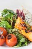 Fresh tandoori salmon salad with chapati Royalty Free Stock Photo